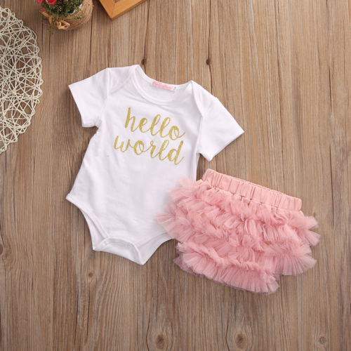 cc4ba211b Newborn Baby Girls Outfit Clothes Romper Jumpsuit +Lace Pants Uk ...