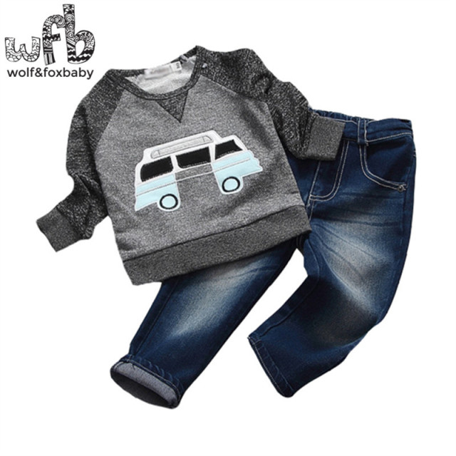 Retail 0-6 years sets Long-sleeves T-shirt +denim trousers o-neck car kids children spring autumn fall