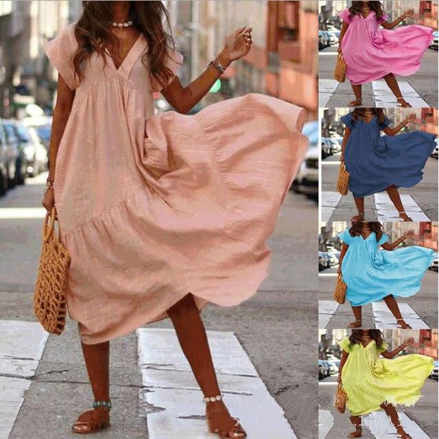 34104d3602be55 3 XL Summer Casual Ladies Maxi Dresses Bohemian Sexy Bodycon Kaftan Linen  Femme Women S Shirt