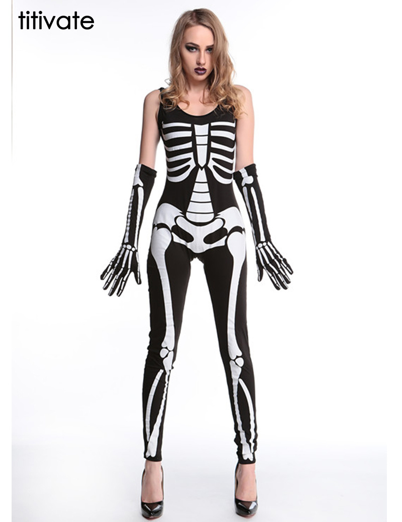 Titivate 2016 Fashion Brand Women Jumpsuit Sexy Halloween Costume Ideas Skin Tight -4135