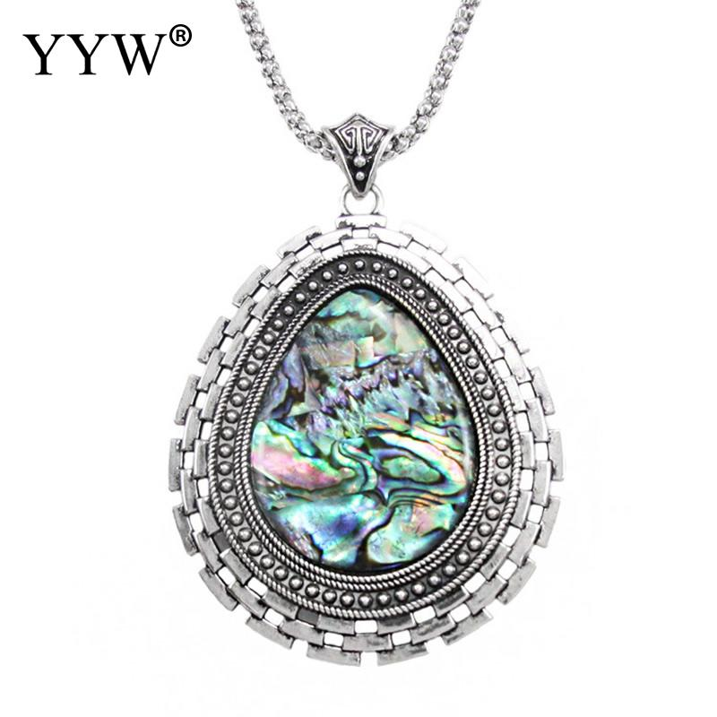 YYW New Punk Women 60cm Long Sweater Chain Necklace Mother of Pearl Mussel Shell Abalone Shell Teardrop Pendant Necklaces Woman