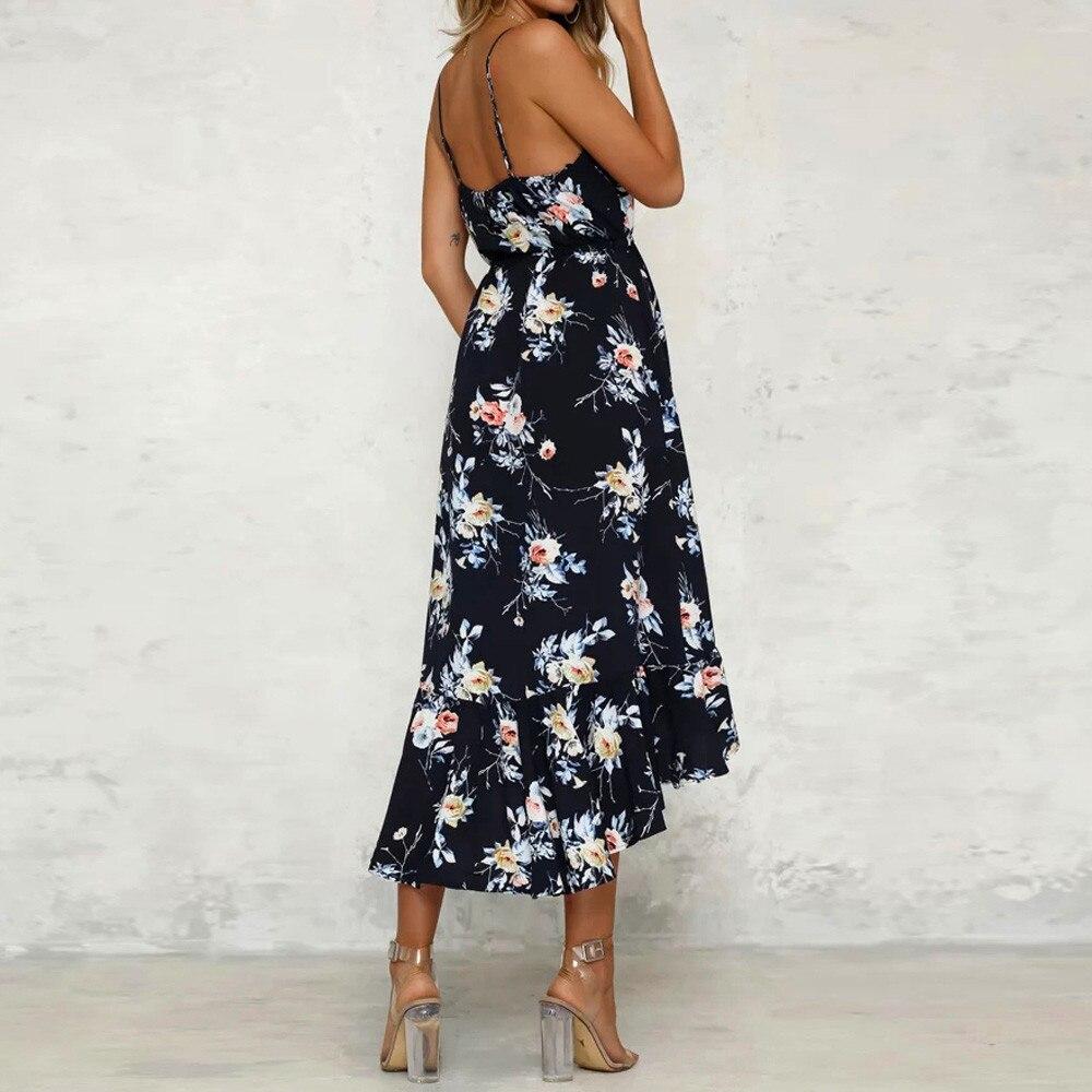 Womens Holiday Plunge Ladies Maxi Long Summer Floral Print Beach Dress women Beach derss 2019 maillot de bain femme 2019