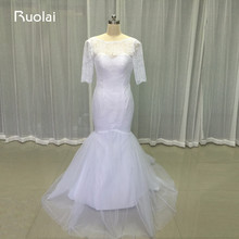 Real Picture Simple Design Half Sleeves Scoop Mermaid White Wedding Dresses 2017 Tulle Lace Bridal Gown Vestido de Novia FW68