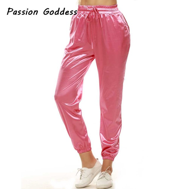 most desirable fashion search for authentic latest sale US $13.91 25% OFF HipHop Pants Joggers Women Full Length Elastic High Waist  Satin Pants Casual Pencil Trousers Long Bottom Silk Pantalon Sweatpant-in  ...