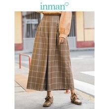 INMAN 2019 automne nouveauté minimalisme tout assorti rétro Plaid mode mince femmes trois quarts pantalon ample