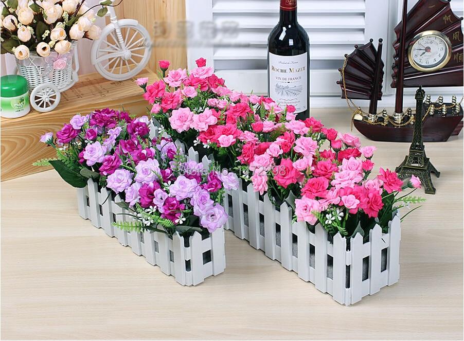 50 Cm Buatan Panas Sutra Sudut Bunga Mawar Pernikahan Palsu Warna Warni Mekar Naik Stockade Dekorasi Taman Rumah Di Kering Dari