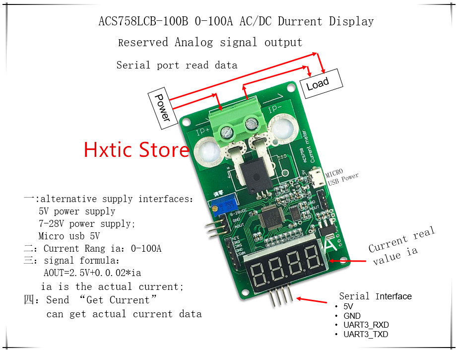 ACS758LCB-100B ACS758 0-100A AC/DC Current Display Meter