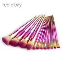 12PCS Diamond Makeup Brushes Set Powder Foundation Blush Eye Shadow Blending Fan Cosmetic Beauty Make Up