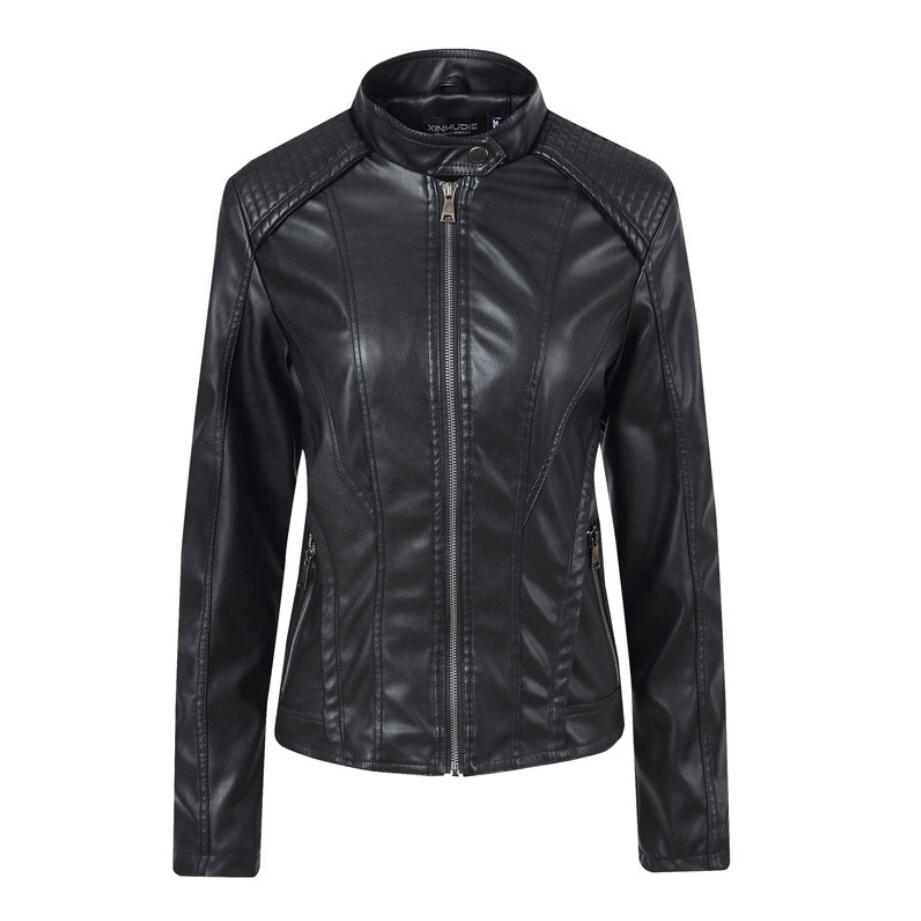 2019 Autumn Faux   Leather   Jacket Women stand collar Slim Motorcycle Jacket Brand Fashion PU   Leather   Jackets r1390