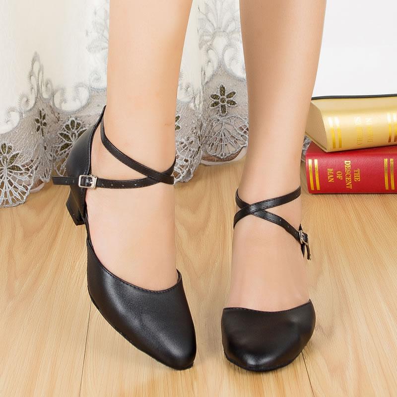Wholesale Women Black Geniune LATIN Dance Shoes Ballroom Dance Shoes Salsa Dance Shoes Tango Dance Shoes 6396