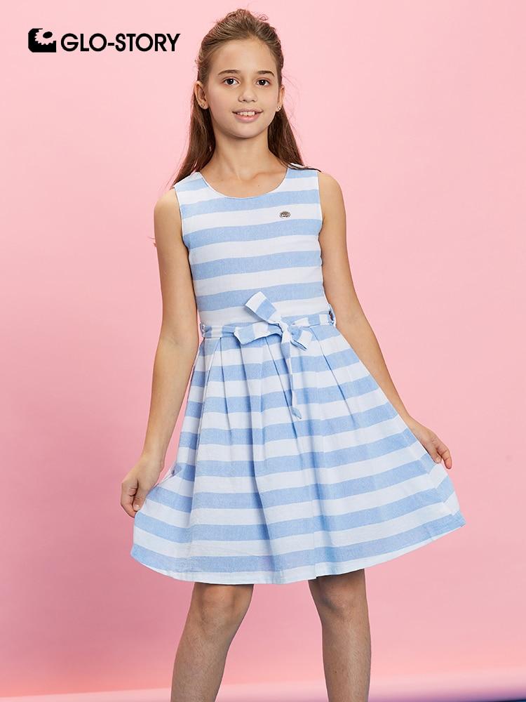 GLO-STORY Kids Girls 2019 Summer Sleeveless  Striped Dresses Children Girls Casual Streetwear A-line Dress Teenage Vestidos 8117
