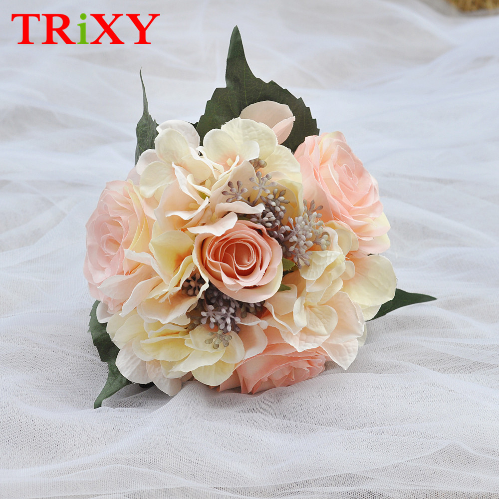 Weddings & Events Wedding Bouquets Trixy B15 Free Shipping Charming Wedding Bouquet Bride Bridal Holding Flowers Pink Rose Artificial Flowers Bridal Bouquets