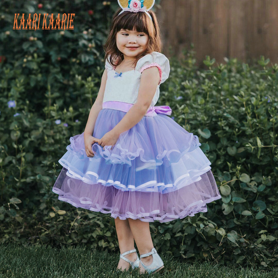 lovely Purple Flower Girl Dresses for Wedding 2019 Child Birthday Party Dress little Girl Lace Ball Gown Girls Pageant Gowns New