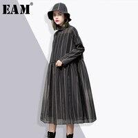 [EAM] 2018 nowa wiosna wokół szyi z długim rękawem jednolity kolor czarny organza sukienka w paski podział wspólnego kobiet mody fala JE34801
