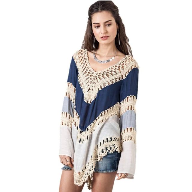 2018 mujeres de la moda Bohemia punto playa ganchillo ropa ocasional ...