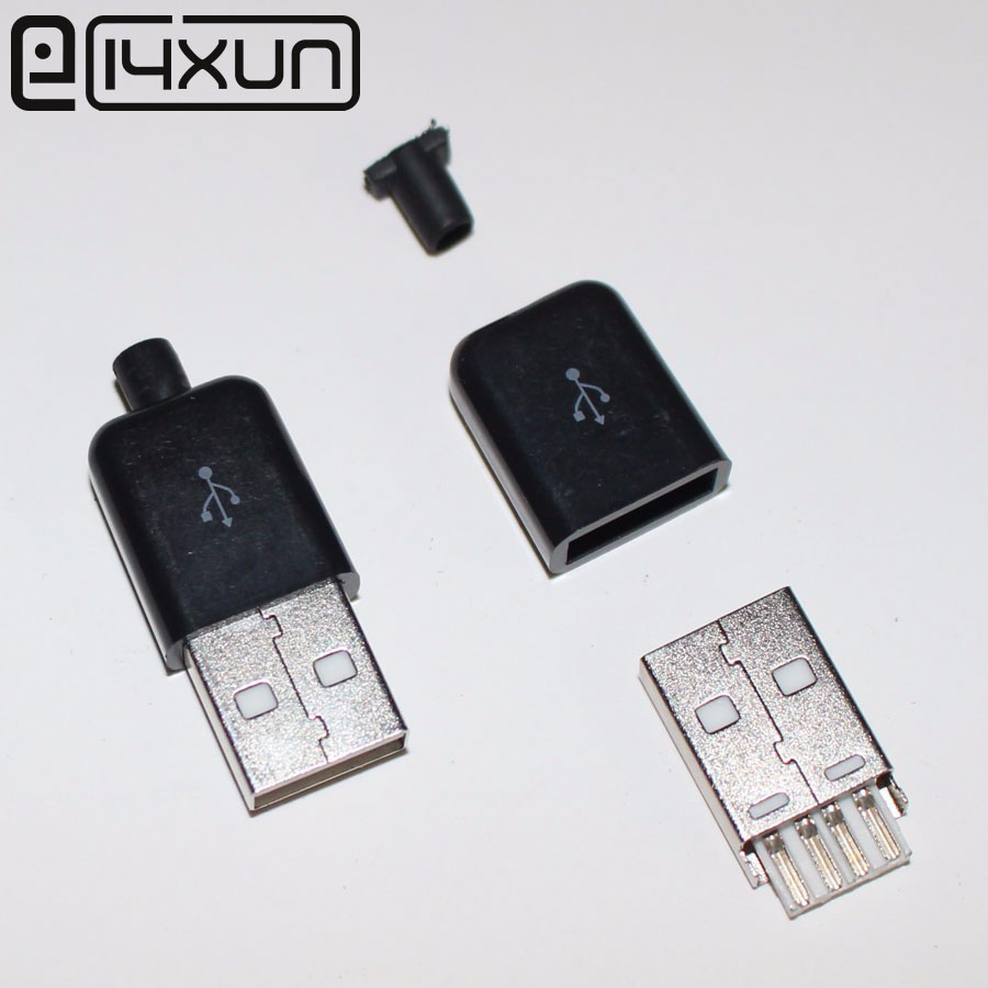 10PCS Male USB Connector Kit 5P 5pin USB 2.0 Plug Type A DIY Components White /Black Plastic Cover10PCS Male USB Connector Kit 5P 5pin USB 2.0 Plug Type A DIY Components White /Black Plastic Cover
