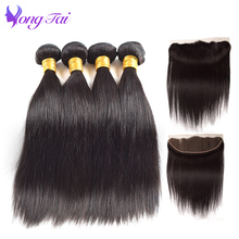 Peruvian Straight hair 4 Bundles with Lace frontal Natural Color YuYongTai Human hair Extension Ear To Ear 13*4 Lace frontal