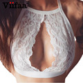 Viifaa Floral Lace Bralette Top Safra Mulheres Verão Branco Sexy Cortadas Feminino Halter Fitness Crochet Tops Camisole