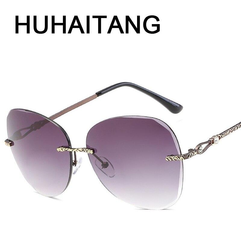 huhaitang oval gafas sin marco gafas de sol de las mujeres patrn tallado pilares de