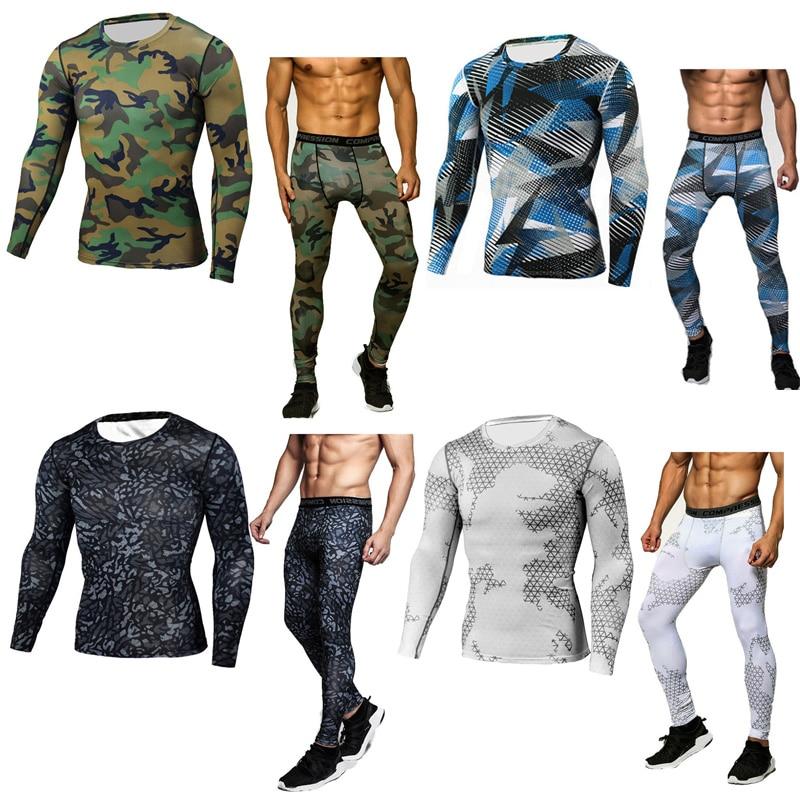 Camouflage survêtement hommes sous-vêtements thermiques à manches longues thermique tricots MMA rash guard set hommes crossfit de compression chemise