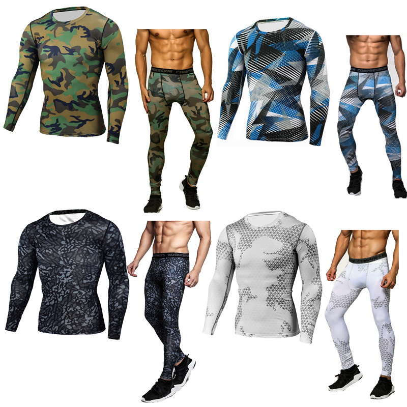 Camouflage Tracksuit Men  Thermal Underwear Long Sleeve Thermal Knitwear MMA Rash Guard Set Men Crossfit  Compression Shirt