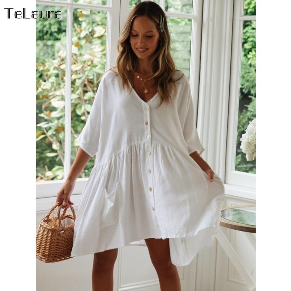 Swimsuit Tunic Cover-Up Beach-Dress Summer Bikini White Women New
