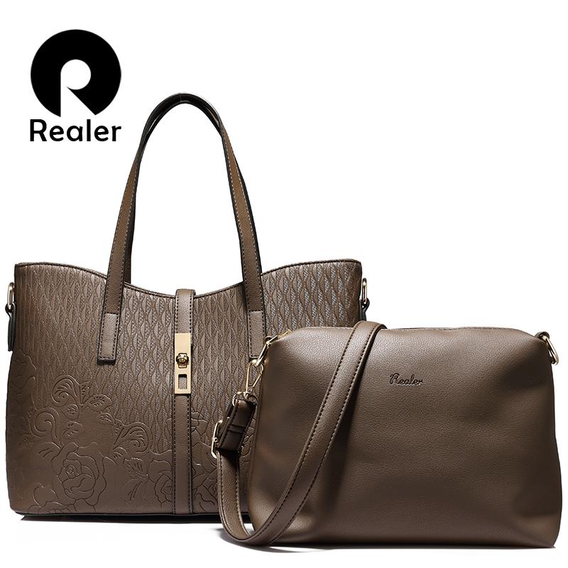 Prix pour REALER marque 2 pcs/ensemble femmes sac à main des femmes en relief fourre-tout sac femmes épaule sac dames messenger bag en cuir artificiel sac