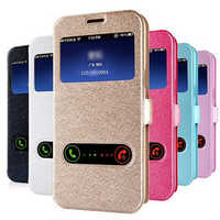 Luxury Front Window View Leather Flip Phone Case For Samsung Galaxy A3 A5 A7 A8 A9 J1 J2 J3 J5 J7 2017 J3 2016 Stand Case Cover