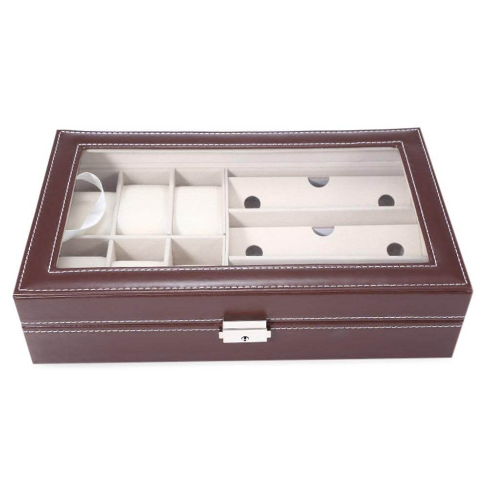 Brand New PU Watch Boxes Jewelry Watch Glasses Display Box Glass