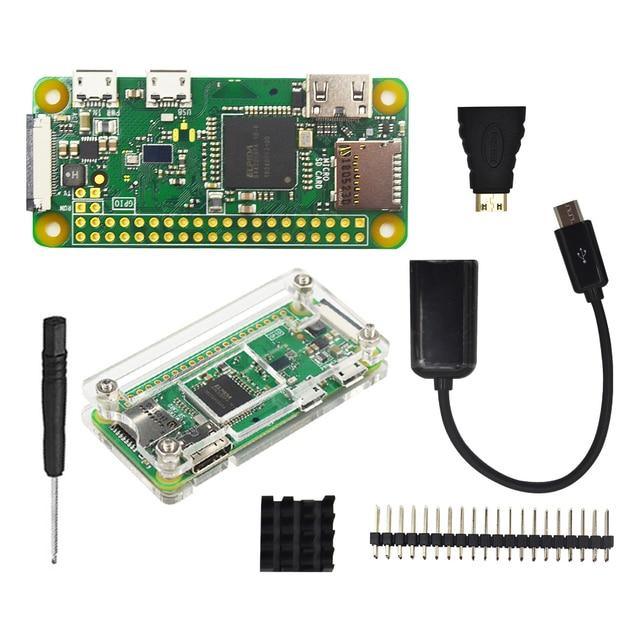פטל Pi אפס W Starter Kit + אקריליק מקרה + גוף קירור + 2x20 פין GPIO כותרת טוב יותר מ פטל Pi אפס 1.3