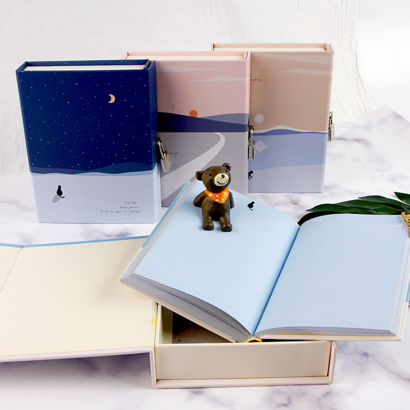 """Image 4 - """"Cats Journey"""" Diary with Lock Notebook Cute Functional Planner Lock Book Dairy Journal Stationery Gift Box Package-in Notebooks from Office & School Supplies"""