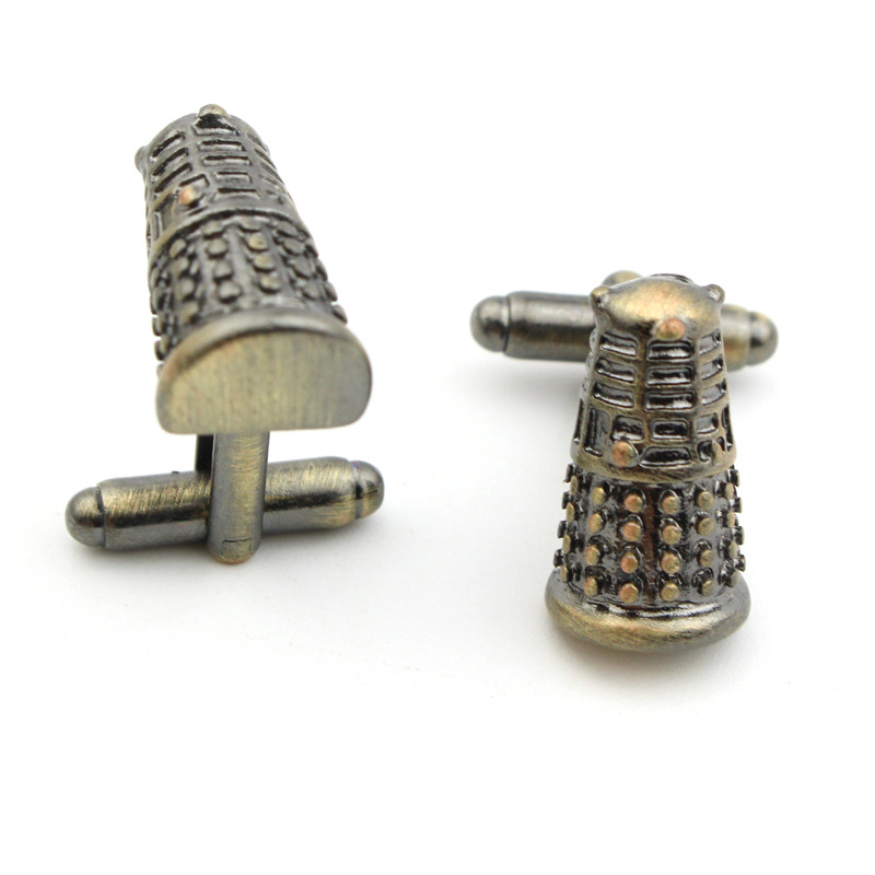 Wholesale 2015 Doctor Who Dalek 3D Metal Cuff Links DW font b Science b font Fiction
