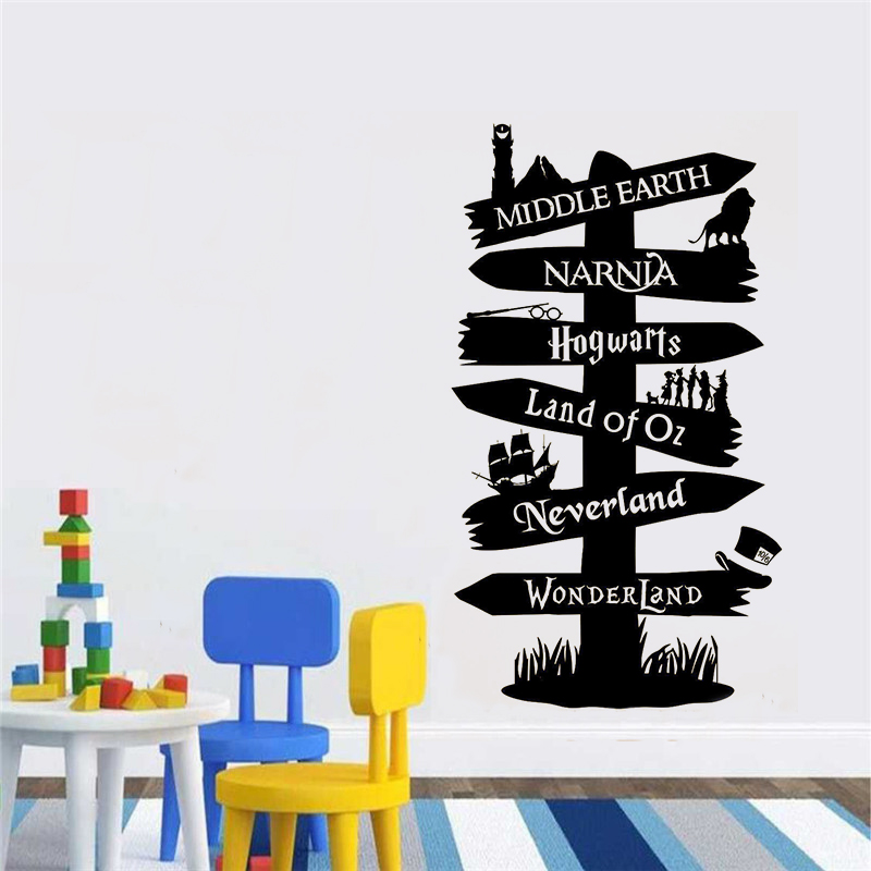 Road Sign Kids Wall Stickers Kids Room Storybook Signpost Lord Of ring vinyl decal Nursery Home Decor Living Room Poster B267 web page
