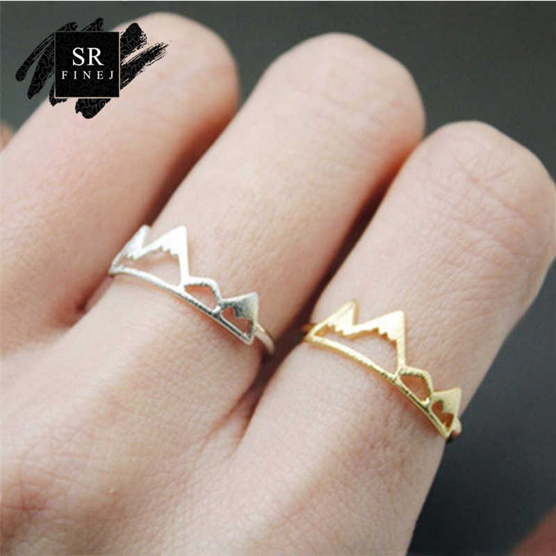 SR:FINEJ New Fashion Adjustable Ring Open Mountain Rings for Women Birthday Gift Charm Jewelry Finger Wave Rings Anillos Bague