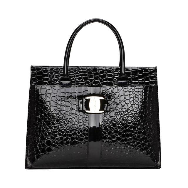 iCeinnight Crocodile Pattern Black Red Leather Bags Women Handbag With Metal Logo bolsa feminina dollar shop online handbags