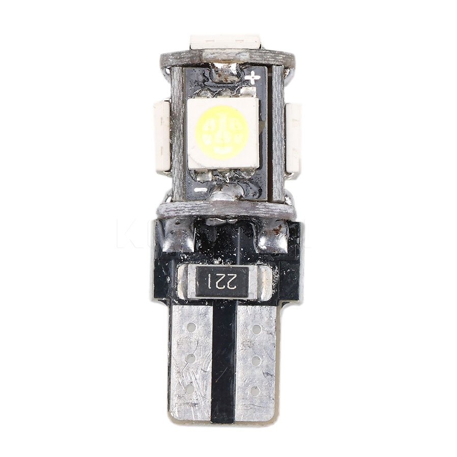 kebedemm 50pcs Car Side Wedge T10 5050 5 LED SMD Canbus Error Light Lamp Bulb Auto Wedge Tail Side Bulb Reading Lamp
