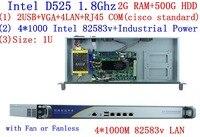 linux servers firewall PC with 4*82583v Gigabyte LAN Intel D525 1.8G support ROS Mikrotik PFSense Panabit Wayos 2G RAM 500G HDD