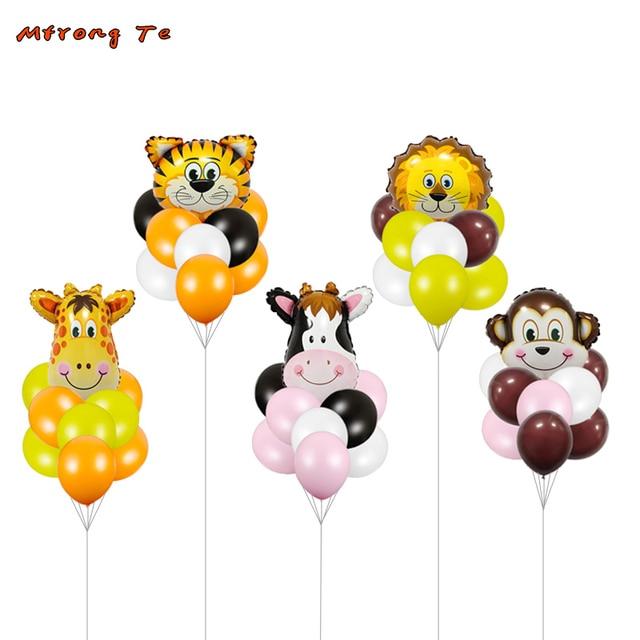 9pcs Giraffe Monkey Zebra Cow Animal Head Air Helium Balloon Bouquet Themed Party Decor Kids Gifts Toy Birthday Party Supplies