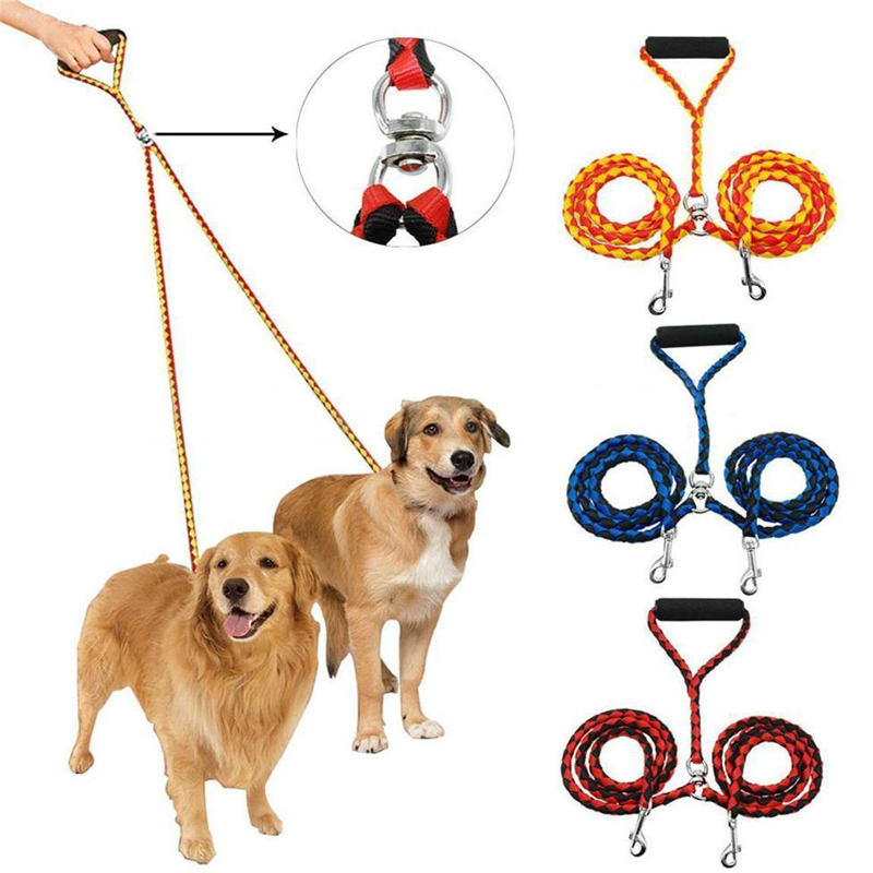 High Quality Nylon Hand-Made Double Pet Lead For Two Dogs 47 Inch Braided Tangle Free Dog Leash Rope Coupler For Training