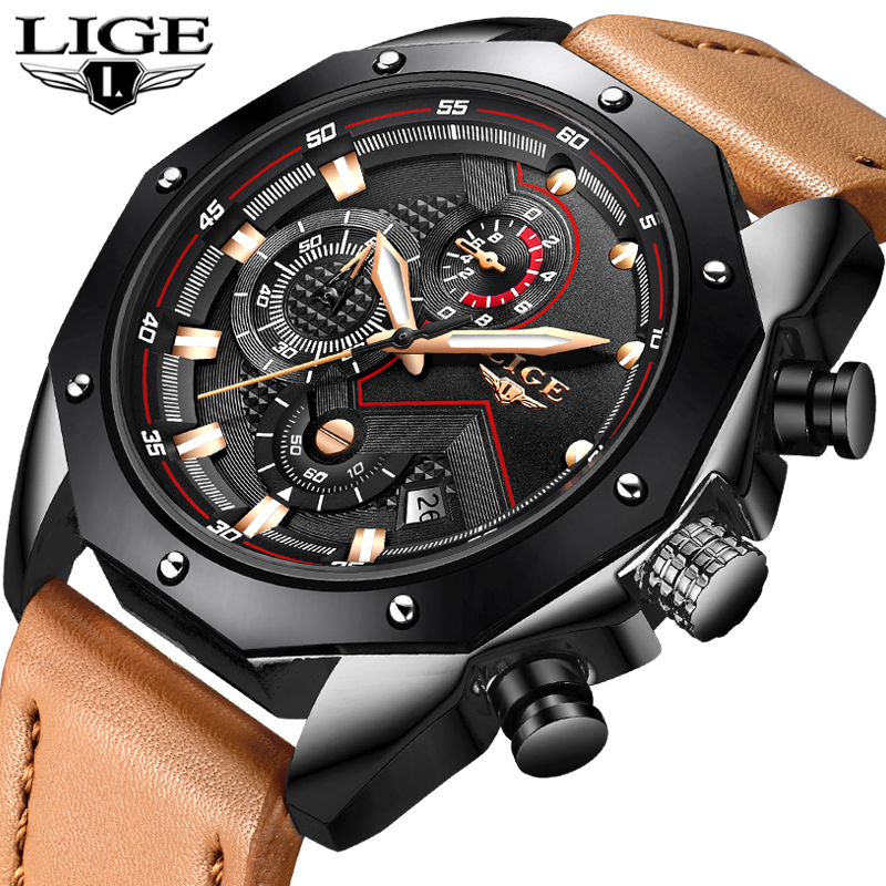 Relojes 2018 LIGE Men Watches Top Brand Luxury Mens Waterproof Quartz Watch Men's Casual Leather Sports Watch Relogio Masculino kezzi men watches sports waterproof quartz watch luxury brands leather strap watches wristwatches relogio masculino relojes