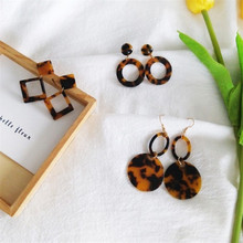 2018 Brown Acetate Version Geometric Earrings Temperament Personality Exaggerated Earrings Korean Simple Fashion Women