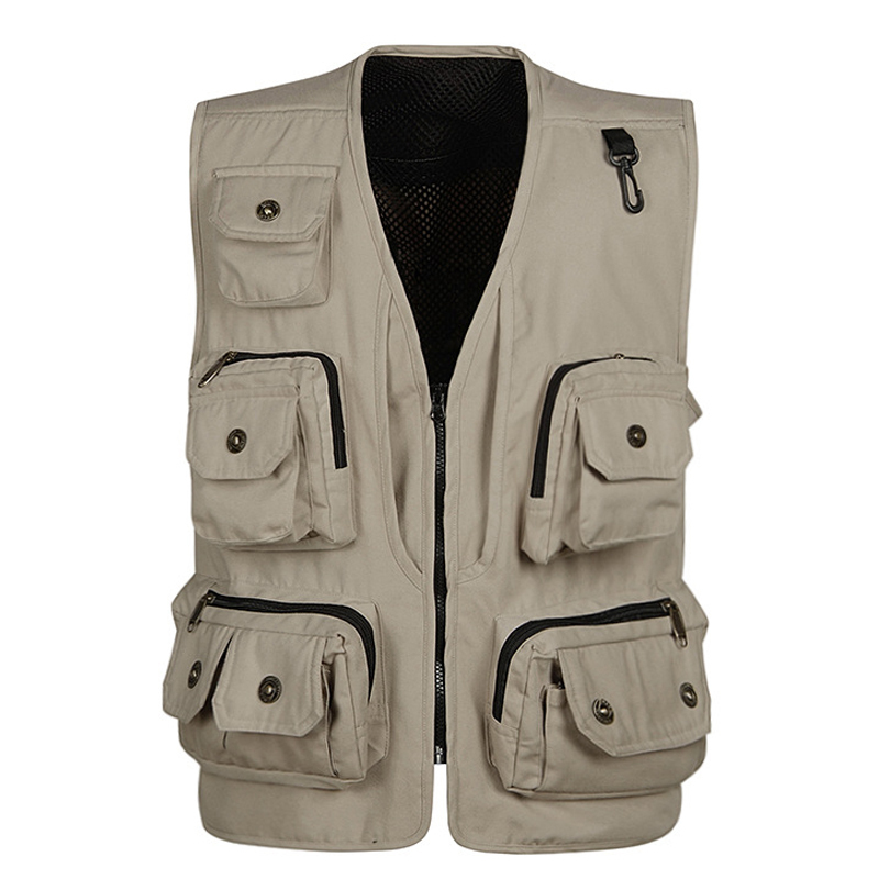 2019 Fashion Vests For Men Wholesale Men's Multi pocket Photography Vest Men Casual Reporter Director Military