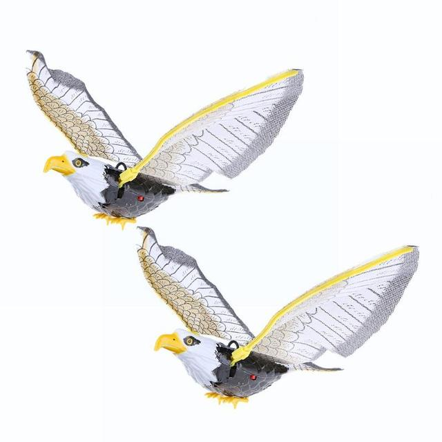 Electric Plastic Sound Wing Flying Eagle Toy Voice Spread Wings Battery Suspension Wire Eagle Toys Kid Child Gift