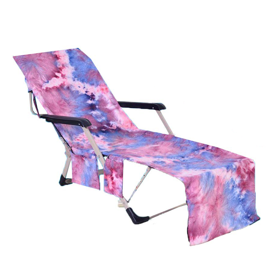 Portable Beach Pool Sun Lounge Chair Cover Microfiber Towel Bag with Pocket