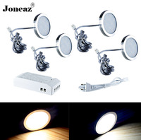 Led cabinet light for kitchen closet wardrobe DC12V round SAA UK EU US plug lamp 2 meter cable 1 set super smart Joneaz