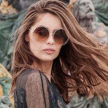 2019 Vintage Round Big Size Oversized Lens Mirror Sunglasses Women Brand Designer Metal Frame Lady Sun Glasses Cool Retro
