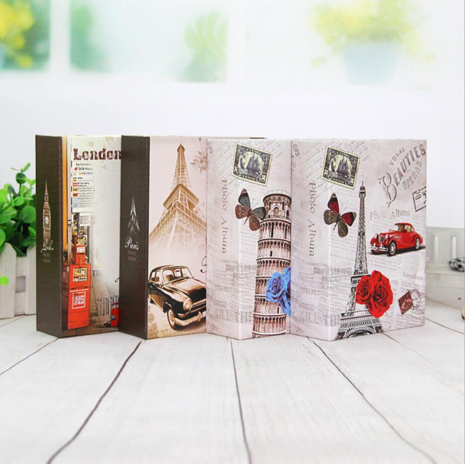 100 карманов 4x6 дюймов Путешествия фотоальбомы Interleaf Тип башня шаблон бумажный напечатанный Чехол Винтаж Ретро альбомы