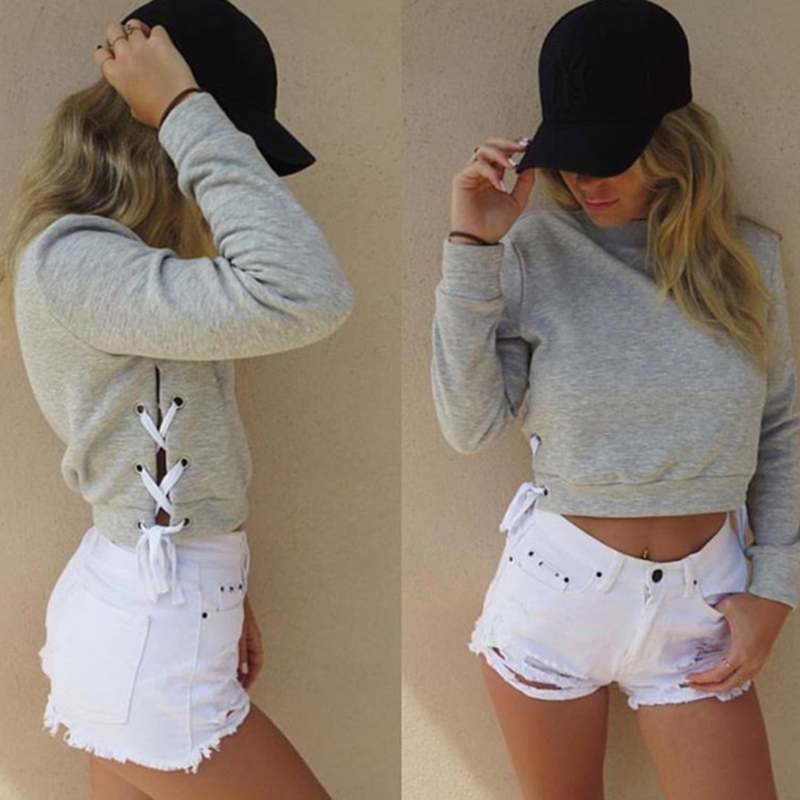 Solid Color Long Sleeve Crop Top Blouse Sweatshirt Spring Autumn Women Sexy Slit Lacing Pullover Jumper Hoody Ropa Mujer