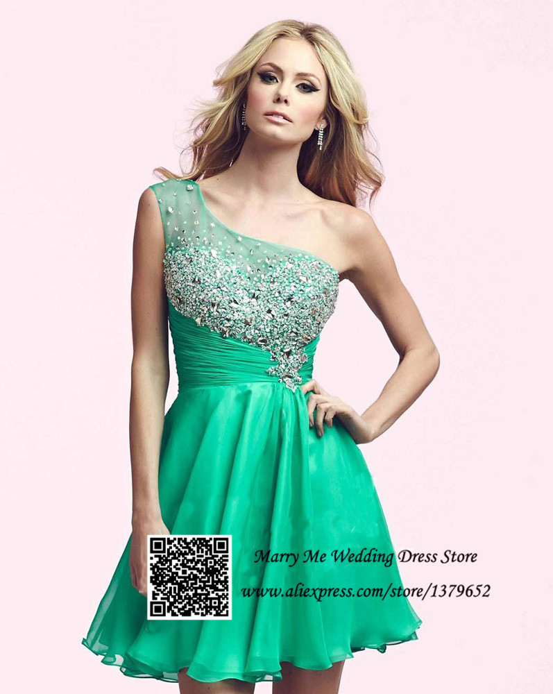 Aliexpress.com : Buy Stunning Green Black One Shoulder Rhinestones ...