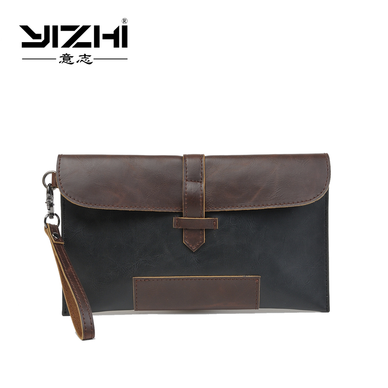 YIZHI 2018 Business Men's Briefcase High-quality PU Leather Two Color Optional Hasp Opening Method